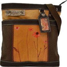 This petite and compact cross body bag is made with 100% natural cotton canvas. The Luna small cross body bag features a faux leather trim, polyurethane coating on printed art, honeycomb interior lining, one external zippered pocket, one external deep back pocket, interior wall organization, interna