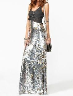 Goddess of Sequin Silver Maxi Skirt