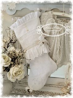 Tattered Rose Linen Lace Stocking - Christmas Stockings - REBECCA VINTAGE @ A Gathering Place