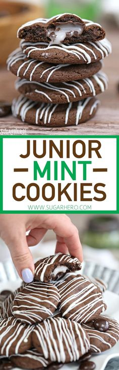 Junior Mint Cookies are soft and chewy chocolate-mint cookies, with a Junior Mint baked right into the center!   From http://SugarHero.com