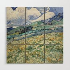 Landscape from Saint Remy Wood Wall Art by artmasters Van Gogh Landscapes, Landscape Paintings, Vintage Wall Art, Vintage Walls, Wooden Wall Art, Wood Wall, Van Gogh Prints, Art Van, Wood Square