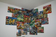 LEGO boxes as wallpaper. what to do with all those LEGO boxes for a boy's bedroom.
