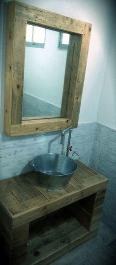 Mueble Baño Rustico / Muebles con Palets / Diseño Industrial / Decoracion Vintage /desvanvintage.com