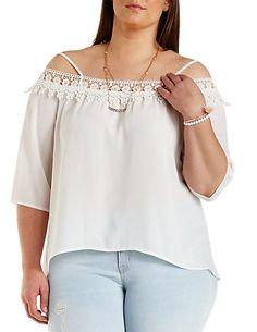 8d0ea1115bc7f7 Plus Size Crochet   Chiffon Off-the-Shoulder Top  Charlotte Russe