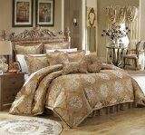 Big Sale on Chic Home 9 Piece Aubrey Decorator Upholstery Quality Jacquard Scroll Fabric Bedroom Comforter Set and Pillows Ensemble Queen Gold and more