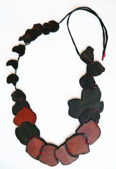 Flora Vagi - Leaves necklace (2008). Ebony, padauk, silk. Photo from http://www.floravagi.com