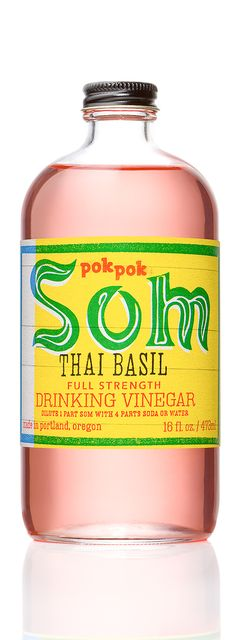 Full strength Thai Basil Som Drinking Vinegar is bursting with intense basil, mint and pepper flavors. Thai Basil Som is a refreshing drink with mild acidity and a sweet finish. Winner of the 2014 sof Thai Recipes, Asian Recipes, Primal Recipes, Healthy Drinks, Healthy Eating, Detox Drinks, Clean Eating, Pok Pok, Drinking Vinegar