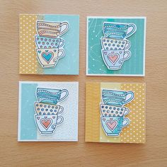 I've been having fun playing with these adorable little teacups stamps! Cute Cards, Diy Cards, Tea Riffic, Coffee Theme, Recipe Scrapbook, Coffee Cards, Coffeehouse, Square Card, Small Cards