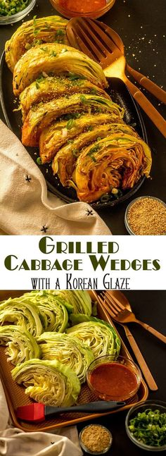 """An addictive spicy sauce that gets its """"kick"""" from gochujang dresses up Grilled Cabbage Wedges with a Korean Glaze... This grilled cabbage is anything but bland, and super easy to make! Korean Sides 