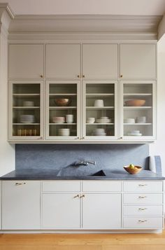 Pietra Cardosa Stone A House United: Reimagining a Brooklyn Brownstone - Remodelista Kitchen Cabinets Measurements, Installing Kitchen Cabinets, Kitchen Wall Cabinets, Inset Cabinets, White Cabinets, Kitchen Cabinets With Glass Doors, Upper Cabinets, Modern Cabinets, Storage Cabinets