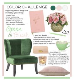 """""""Color Challenge: Green and blush"""" by shiningstars17 ❤ liked on Polyvore featuring interior, interiors, interior design, home, home decor, interior decorating, Vance, Holly's House, AERIN and Pfaltzgraff"""