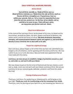 DAILY SPIRITUAL WARFARE PRAYERS