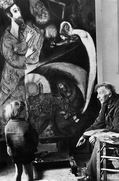 Marc Chagall with a child in front of King David, photo by Felix H. Man.    Taken by Felix H. Man