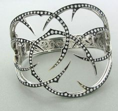 Stephen Webster wild rose thorn cuff bracelet in 18k white gold with diamonds