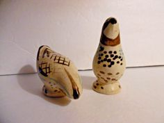 1950's Red Wing Pottery Salt and Pepper Shakers Bob White Pattern Figural Birds #RedWingBobWhite
