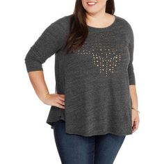 Plus Size French Laundry Women's Plus Embellished 3/4 Sleeve Top Swing Knit Top, Size: 3XL, Black