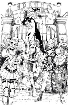 "Harley Quinn - Arkham Asylum ""You don't know the half of the abuse"" Colouring Pages, Adult Coloring Pages, Coloring Books, Harley Quinn Drawing, Joker And Harley Quinn, Arkham Asylum, Comic Book Characters, Comic Character, Comics Girls"