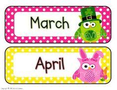 owl and polka dots calendar