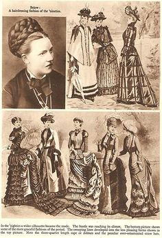 SEPIA PRINT C1936 - LADIES FASHIONS IN THE 1880's AND 1890's