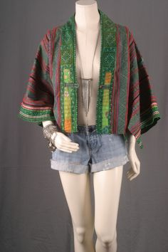 Women blazer jacket coat cropped kimono ikat nepali by sparrowlyn, $64.00