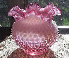Fenton Cranberry Opalescent Hobnail Ruffled Vase via trocadero.com