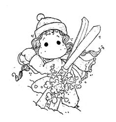 Winter Wonderland 2013 - In The Snow Skii Tilda Adult Coloring Pages, Coloring Sheets, Coloring Books, Magnolia Colors, Black And White Drawing, Drawing Sketches, Drawings, My Scrapbook, Copics