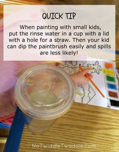 Cups of open water always seem like an accident waiting to happen! I'm so glad that I discovered this tip to make painting with kids less messy! @ Shelly Wilson this is a good idea for your little ones! Painting For Kids, Art For Kids, Toddler Activities, Activities For Kids, Toddler Crafts, Crafts For Kids, How To Make Paint, Early Childhood, Art Lessons