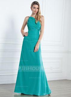 Bridesmaid Dresses - $125.99 - Sheath One-Shoulder Floor-Length Chiffon Bridesmaid Dress With Ruffle Beading (007004140) http://jjshouse.com/Sheath-One-Shoulder-Floor-Length-Chiffon-Bridesmaid-Dress-With-Ruffle-Beading-007004140-g4140