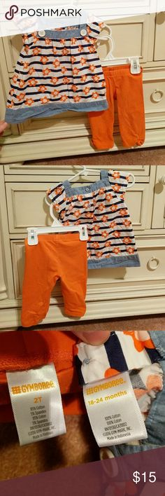 Gymboree Spring set 18-24 mon top and 2t capris Great used condition. Wrinkled. Very slight fade. From a smoke free, pet free home. Gymboree Matching Sets