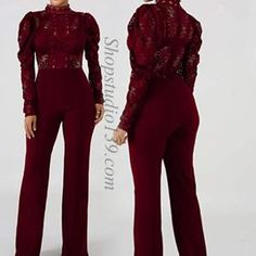 Lace Patchwork Wide Leg Long Pants  High Waisted StretchJumpsuit Romper