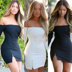 This sexy tight fitted party dress will take the chip off of any shoulder featuring an off shoulder look, long sleeves, side zipper that creates a sexy slit. Wear this mini dress when you're really trying to break some hearts or steal some! Tight Dresses, Sexy Dresses, Casual Dresses, Short Dresses, Fashion Dresses, Women's Fashion, Ladies Fashion, Fashion Online, Fashion Clothes