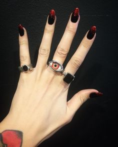 We just set this Winged Faceted Garnet Ring on the far left and have some supernatural Eye Ring colors available like this red one pictured. As well as the Square Gem Ring with Faceted Garnet a stone that looks black in the shadows and blood red in the light. One of our favorites! #thegreatfrog #thegreatfrogla #since1972