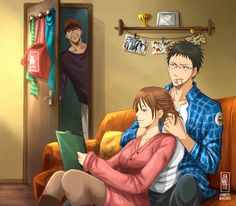 "jeannetteleven: ""RIKO'S ROOM Let's celebrate the 3rd sesason of Kuroko no Basket with my OTP: Riko and Hyuuga! Pls get married now! Hyuuga's dad is a barber, and he usually cuts Riko's hair, so here..."