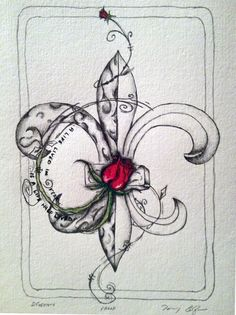 Rose Fleur-de-lis - + Oil Pastels on Watercolor Paper - 8 x 10 - SOLD - My site Body Art Tattoos, Cool Tattoos, Tatoos, Watercolor Flowers, Watercolor Tattoo, Watercolor Paper, Tattoo Fleur, Louisiana Art, Tattoo Ideas