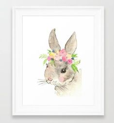 This is a DIGITAL download of my original Bunny watercolor painting with flower crown. This is a beautiful print for a rustic or farm nursery. This is an INSTANT DOWNLOAD printable file, which means you can print it immediately and hang or gift it to a loved one! YOU GET----> - One high quality digital jpg file in 600 dpi - The print is digital and nothing will be shipped to your home! **You can print the file at home, upload it to an online printer, or take the file into a print shop. Fo...