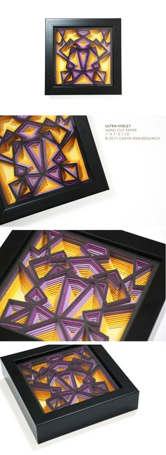 The fine paperworks of Caryn Ann Bendrick, an artist whose paper based works are tactile meditations on repetition and the dichotomy of destruction and creation. Modern Art, Contemporary Art, Papercutting, Paper Artist, Cut Paper, Art Object, Ultra Violet, Ann, Decorative Boxes