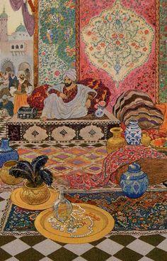 1001 Nights Tarot - King of Cups Art And Illustration, Kalif Storch, Arabian Art, Art Story, Turkish Art, Arabian Nights, Tarot Decks, Islamic Art, Vintage Art
