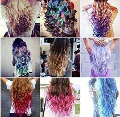 Hair styles hair pretty color collage dye long wavy styles different Dip Dye Hair, Dye My Hair, Dip Dyed, Style Tumblr, Blond, Cute Hair Colors, Hair Colours, Hair Chalk, Rainbow Hair