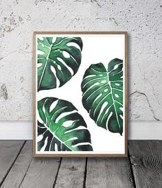 Trendy Printable Art And Photography by SisiAndSeb Leaf Prints, Wall Prints, Canvas Prints, Watercolor Plants, Watercolor Art, Grand Art Mural, Plant Painting, Painted Leaves, Leaf Art