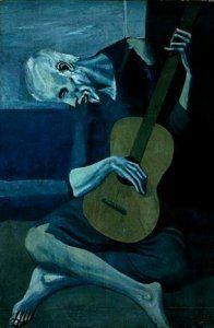 Pablo Picasso,Le Vieux Guitariste,1903,Période Bleue,analyse et etude de la toile et du style,art,culture,peinture