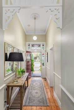 Entry Hallway Floor Hallway Tile Ideas Hall With Narrow Hallway Tiled Floor Narrow Hallway Home Entryway Decor Bungalow Hallway Ideas, Cottage Hallway, Edwardian Hallway, Tour Saint Jacques, Narrow Entryway, Narrow Hallway Decorating, Long Hallway, Upstairs Hallway, Hallway Rug