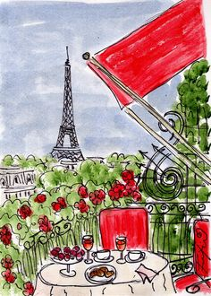 Plaza Red Balcony Breakfast painting by Fifi Flowers