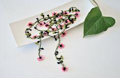 Cherry Blossom Crochet Necklace Oya Pink Flowers by ReddApple, $34.00