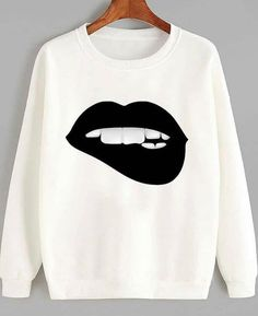 About Black Lips Sweatshirt DAPThis sweatshirt is Made To Order, we print the sweatshirt one by one so we can control the quality. Cool Outfits, Casual Outfits, Fashion Outfits, Womens Fashion, Fashion Trends, T Shirt Painting, Do It Yourself Fashion, Sweatshirt Outfit, T Shirts For Women