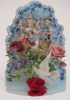 Victorian Vintage Valentine, Fold Down, Germany,