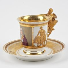 KPM porcelain royal portrait cup and saucer: 19th c.