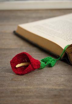 Handmade Crochet Bookmark Bold Red Calla Lily by joyoustreasures