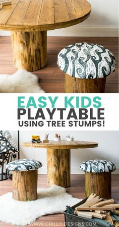 How to build a Tree Trunk Table (with Spoonflower) • Grillo Designs
