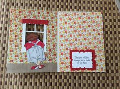 Included is a Thinking of you card. Just the cutest card. This is a front and back stamp that is hand colored. The lady is looking outside