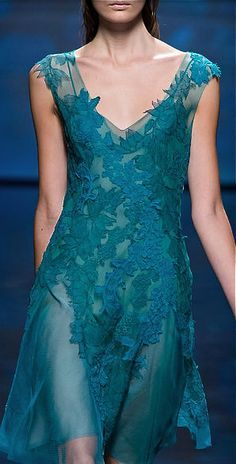 teal dress by Alberta Ferretti